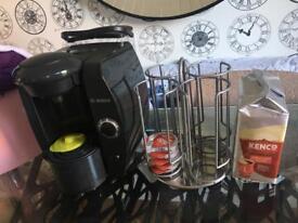 Bosch Tassimo Coffee Machine with pods and holder/storage