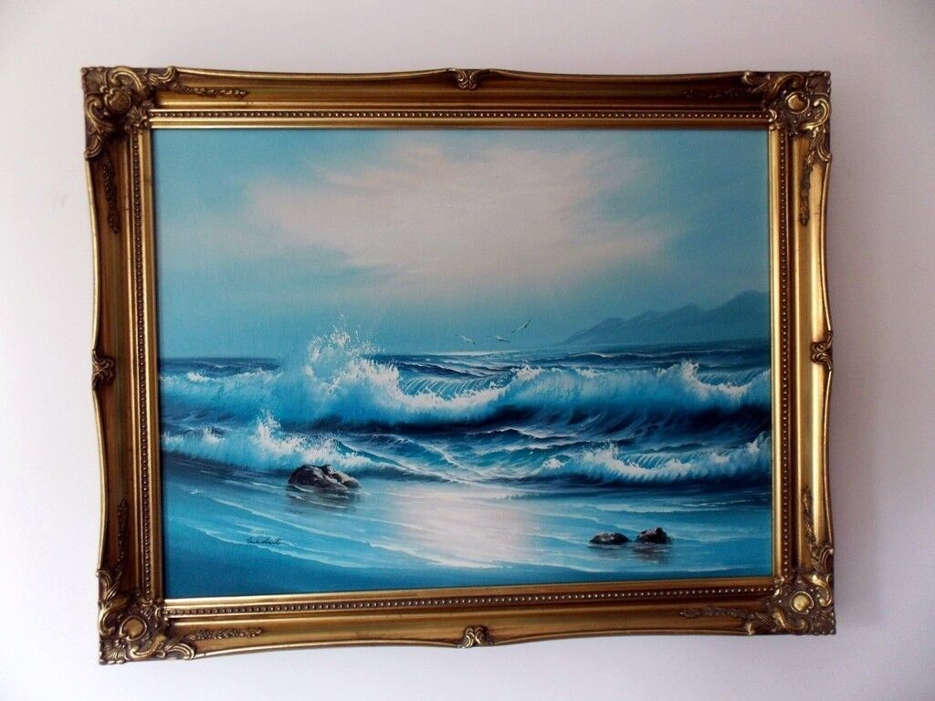 Seascape By Schubert Signed Oil On Canvas In Gold Frame
