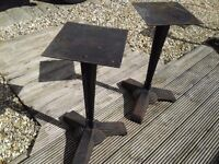 PAIR OF VINTAGE DECO PLANT STANDS OR TABLE BASES CAST IRON SOLID PRETTY DECO MANY USES GARDEN HOME