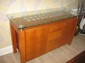 contemporay hardwood and glass sideboard