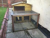 RABBIT HUTCH AND RUN, 2 TIER FLOOR STOREY, WITH ACCESSORIES BOTTLE, FOOD BOWL ETC
