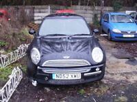 MINI COOPER , STILL RUNS , HALF LEATHER , GOOD WHEELS AND TYRES , LOOKS WORSE THAN IT IS . £495 !!