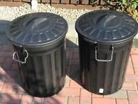 Brand New - Pair of large plastic lidded bins (80 litres each)