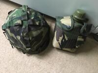 Army helmet and water bottle