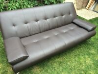 Nice brown 3 seater sofa bed, faux leather