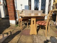 Ercol windsor drop leaf table with 2 ercol dining chairs