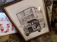LARGE FRAMED VINTAGE PICTURE FRAMED OF A LEYLAND TITIANPD2 BUS