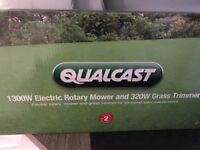 Brand new qualcast lawn mower 1300 rotary lawnmower and 320 watt grass trimmer strimmer