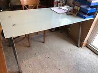IKEA Galant Frosted Glass Large Desk With Adjustable Height Legs