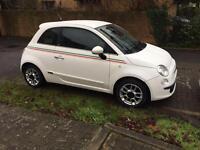 2010 fiat 500 sport 1.2 petrol half leather alloys Italian stripes £30 a year tax