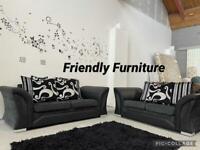 Stunning 3+2 seater black and grey sofa set