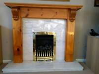 Lovely fireplace - Pine surround and marble back and hearth