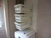 Wall mounted laundry storage basket system & Shelving