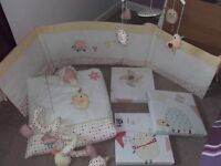 Nursery baby cot bedding and curtains set