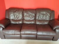 3-SEATER RECLINING ITALIAN LEATHER SOFA FOR SALE