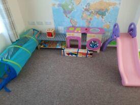 Toddler Bundle: Play kitchen + Play tunnel + Slide + Shape sorters + Girl toy box + Shelf.