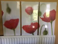 3 individual canvas prints that make up one subtle poppies picture
