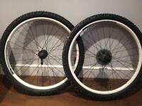 26 Inch QR commencal mountain bike wheels with tyres.