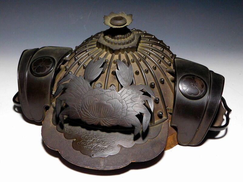 SUPERB Daimyo class KAJI KABUTO w Crab MAEDATE Japan Original Edo Armor Antique