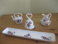 "Hammersley ""Victorian Violets"" bone china ornaments"