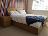 IKEA Malmo double bed with 4 storage drawers and 2 bedside table - excellent condition