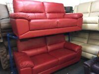 NEW / EX DISPLAY Red ScS Leather Vixen 3 + 2 Seater Sofas