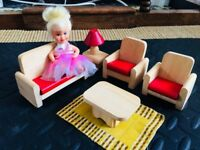 Wooden Doll House lounge furniture with doll in excellent condition