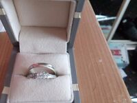 White gold wedding and engagement rings.