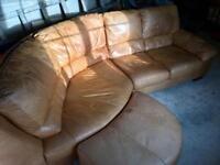 DFS Tan leather sofa