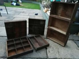 3x vintage wooden boxes.