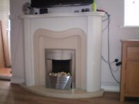 FIRE SURROUND MARBLE SET AND FIRE