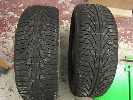 2 Part worn Uniroyal winter tyres 215/55 R17 V XL