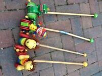 Wooden roll along toys joblot