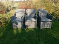 6 grey rattan chairs, brand new with cushions unused