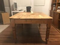 Large solid pine old dining table