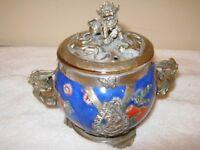 Antique Oriental Incense pot with floral pattern on cermic bowl