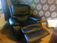 Black fux leather recliner chair