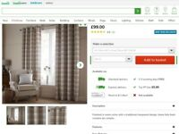 Dunhelm fully lined checked curtains & cushions