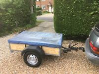 Robust galvanised and braked car trailer 6ft x 4ft, with removable rear