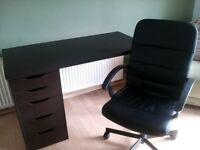 black ikea desk and chair. Beach desk/computer table.