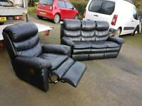 3+1 black leather reclining sofa
