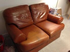 Tan leather 2 seater sofa