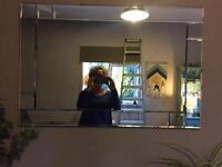 Large glass beveled mirror