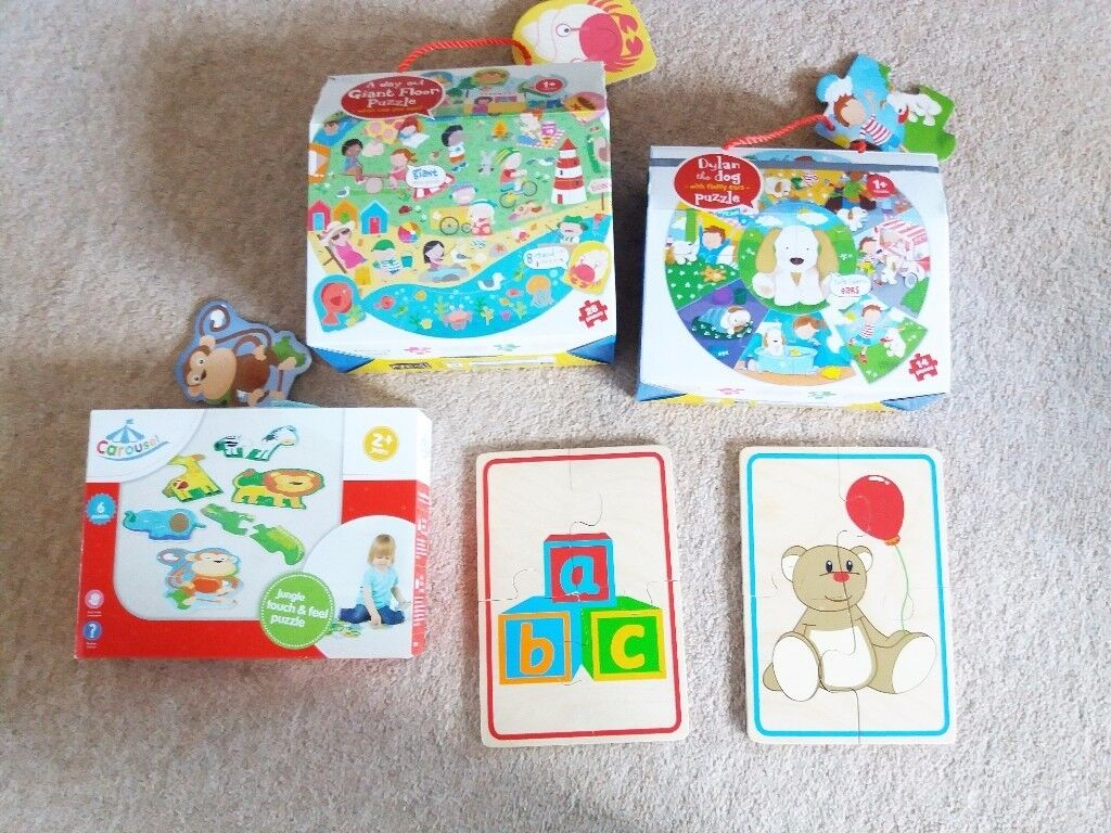 MARKS & SPENCER & ELC Wooden Jigsaw Puzzle Boxed Sets, 2 new, 2 used
