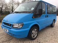 04 FORD TRANSIT TOURNEO MINIBUS 2.0 TDCI 9 SEATS FULL MOT £££ SPENT LOVELY BLUE LOW 130K PX SWAPS