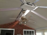 Conservatory Fan/Light - Brass with 3 glass light goblets. Instruction manual. Buyer collects.