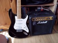 R/H electric guitar and Marshall amp