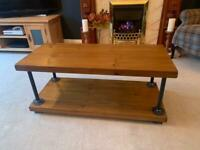 Bespoke coffee table tv stand industrial style solid wood rustic