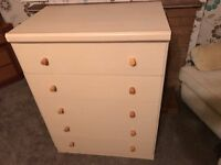 2 Chests of Five Drawers - With Glass Tops - Fair Condition