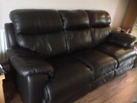 Dark Brown 3 seater leather sofa bought from Gerald shottons.